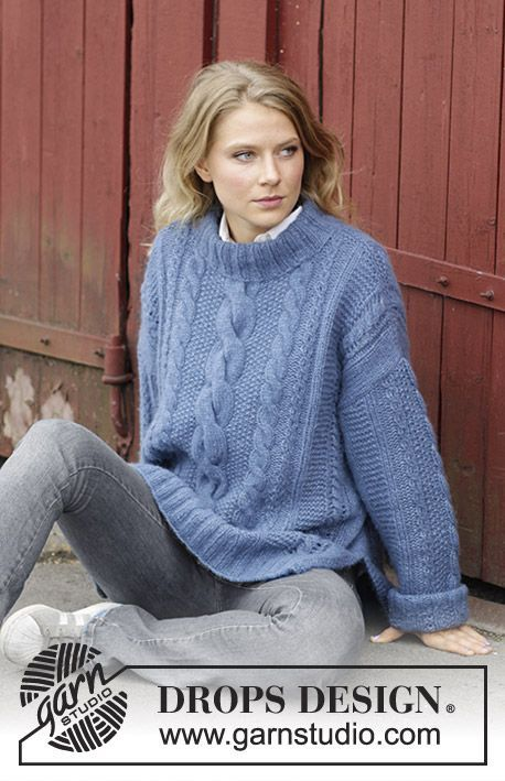 Midnight Cables Knitted Jumper With Cables Lace Pattern And Split