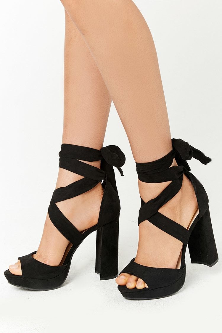 ce9901cfde84 Product Name Faux Suede Wraparound Platform Heels