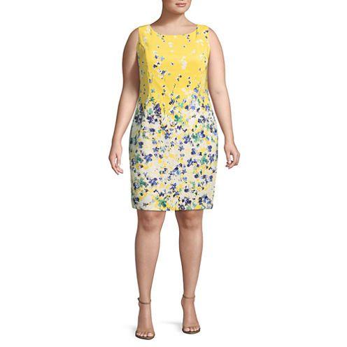 Alyx-Plus Sleeveless Floral Sheath Dress, Color: White