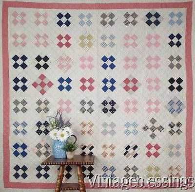 ANTIQUE c1880s Nine Patch QUILT Great Country Decor! Vintageblessings