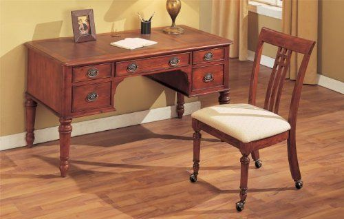 """2pcs Writing Desk and Chair Set - Dark Cherry Finish by Poundex. $599.00. 2pcs Writing Desk and Chair Set - Dark Cherry Finish. Home Office. Home Office->Secretaries. Some assembly may be required. Please see product details.. You will receive a total of 1 writing desk and 1 chair. Dimension of the Desk: 56""""W x 28""""H Dimension of the Chair: 38""""H Seat Height: 18""""H Finish: Dark Cherry / Beige Material: Wood / Fabric 2pcs Writing Desk and Chair Set - Dark Cherry Finish Wr..."""
