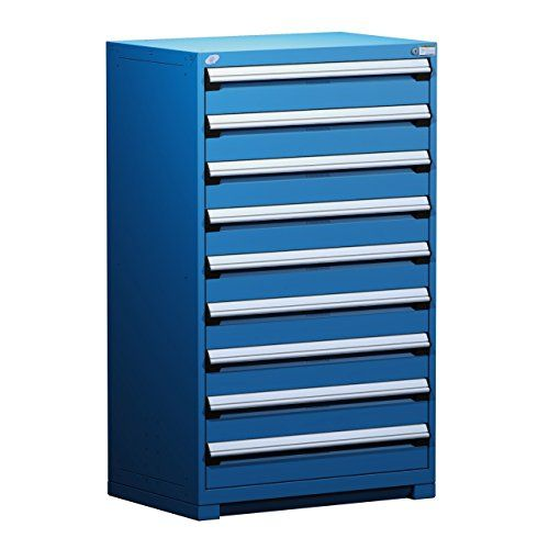 Innovo Storage Systems Heavy Duty Modular Drawer Cabinet 36 Wide X 24 Deep  X 60 High 9 Drawers 507 Lb Avalanche Blue