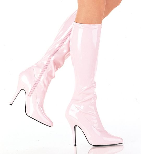 "Pleaser Seduce 2000 5/"" Stiletto Heel Baby Pink Knee Boot"