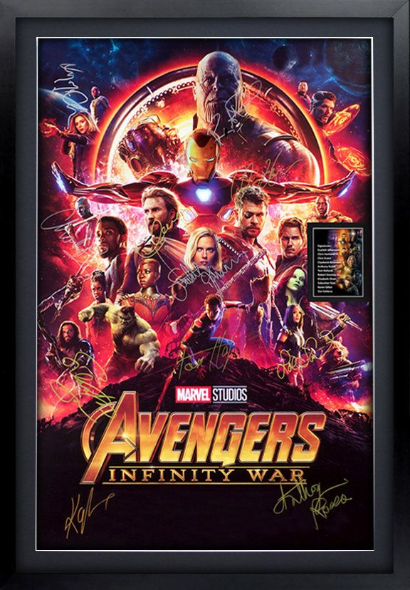 Avengers: Infinity War Signed   Movie Poster Framed and Ready to Hang, Collectible, Memorabilia,Reprint Autographs