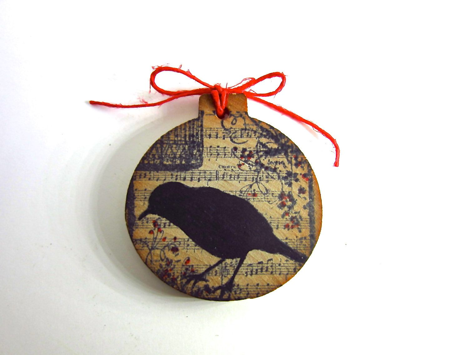 raven black bird christmas ornament xmas tree decor stamped crow with music sheet and bird cage ephemera and vintage inspired gothic 550 via etsy - Bird Christmas Ornaments