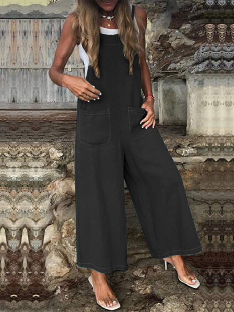 Women Casual Overalls Suits Solid Wide Legs Rompers Plus Size