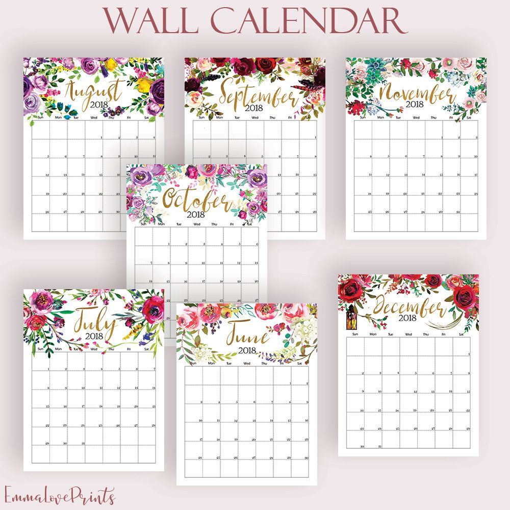 photo regarding Printable Mural called Wall Calendar 2018 2019 Printable Every month Calendar PDF Mural