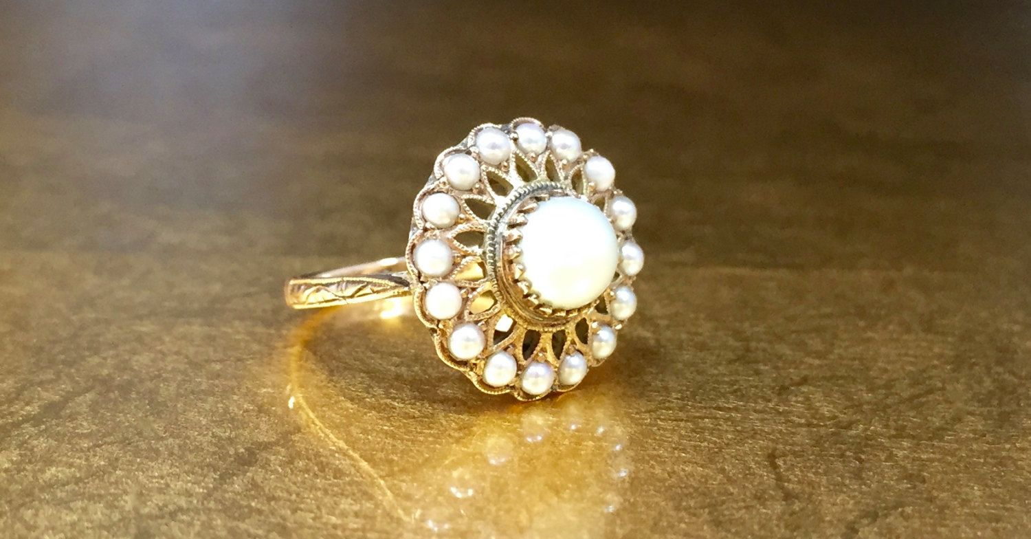 Edwardian Ring | 1900s Engagement | Seed Pearl Ring | Antique Pearl Ring | Edwardian Engagement | Size 4 Engagement Ring