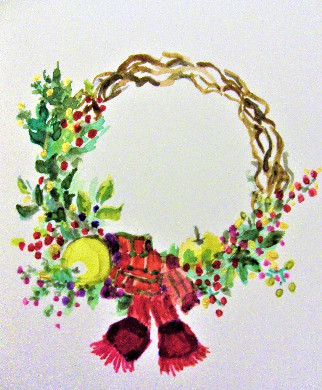 Carte Joyeux Noël peinte à la main,carte de voeux,peinture de Noël