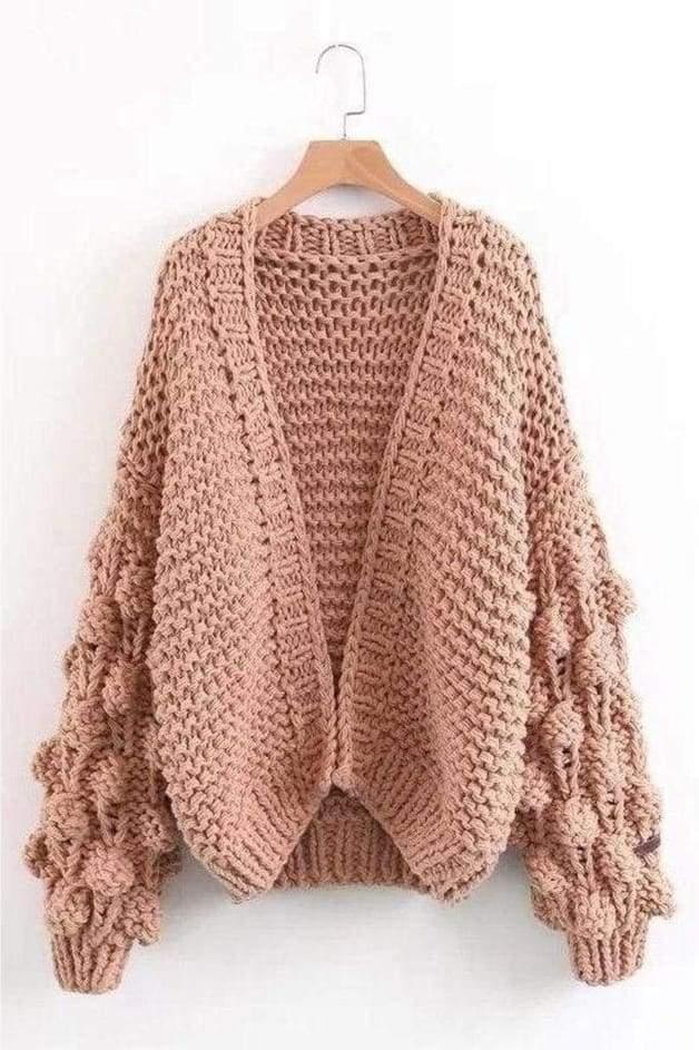 Hand knit Pom Pom Sleeved Chunky Cardigan Khaki | Hand