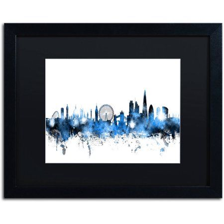 Trademark Fine Art 'London England Skyline' Canvas Art by Michael Tompsett, Black Matte, Black Frame, Size: 16 x 20, Blue