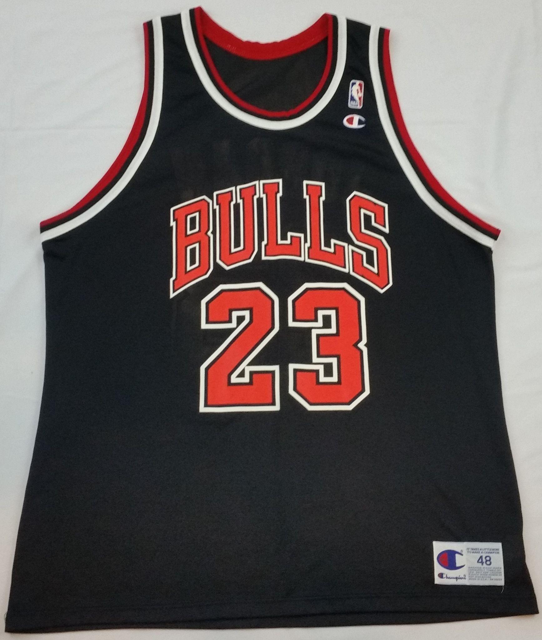9ab272872f4 Michael Jordan  23 Chicago Bulls Champion Jersey NBA Vintage Black Rare  Mens 48