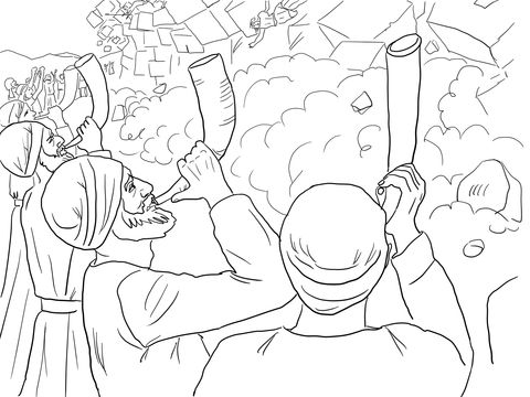 Walls Of Jericho Falling Coloring Page From Joshua Category