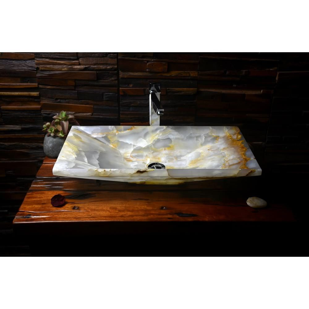 Tami Vessel Sink In White Onyx Stone Tami With Images Stone