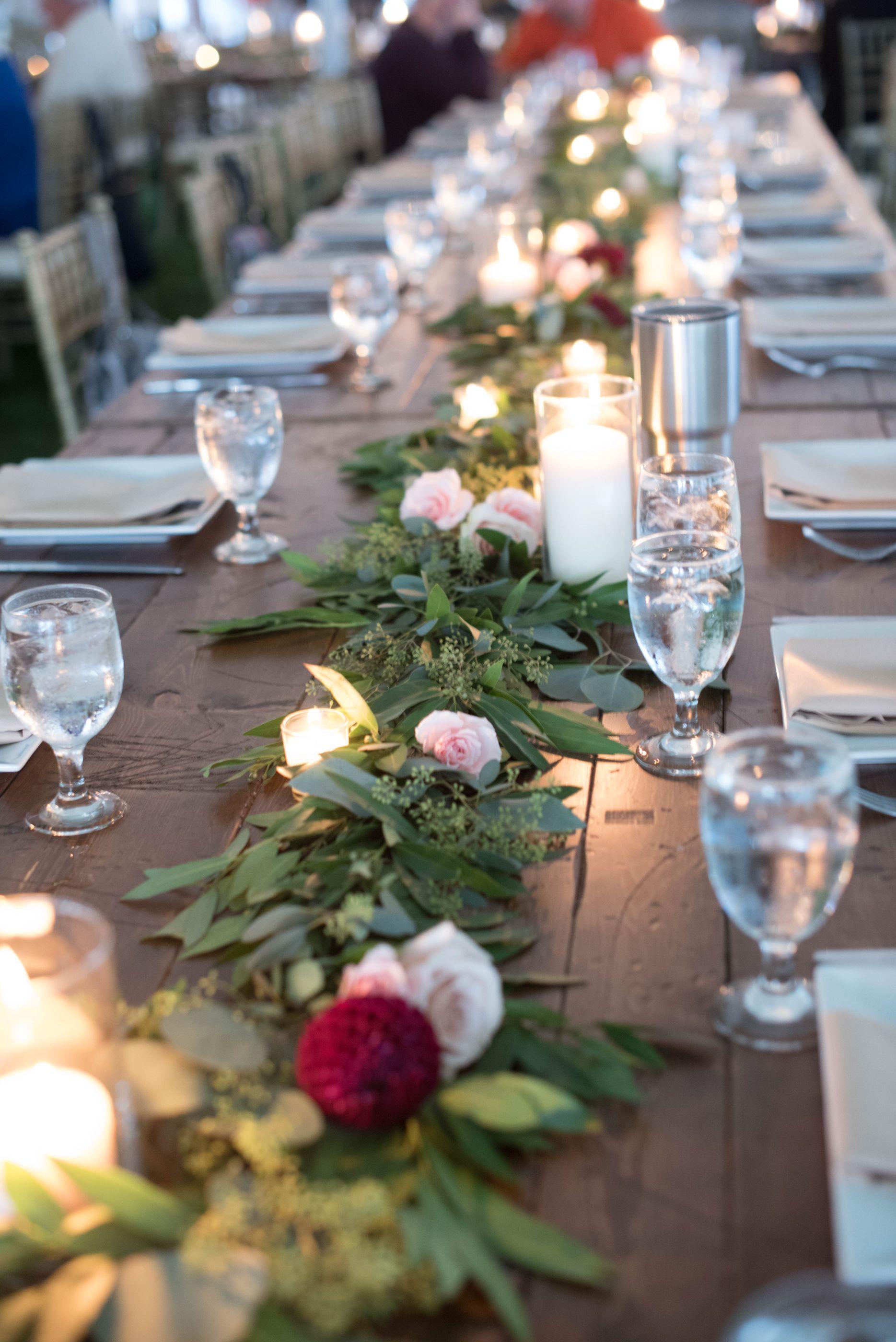 Blush and burgundy wedding table garland   Stellaluna Events with David Tutera Photography