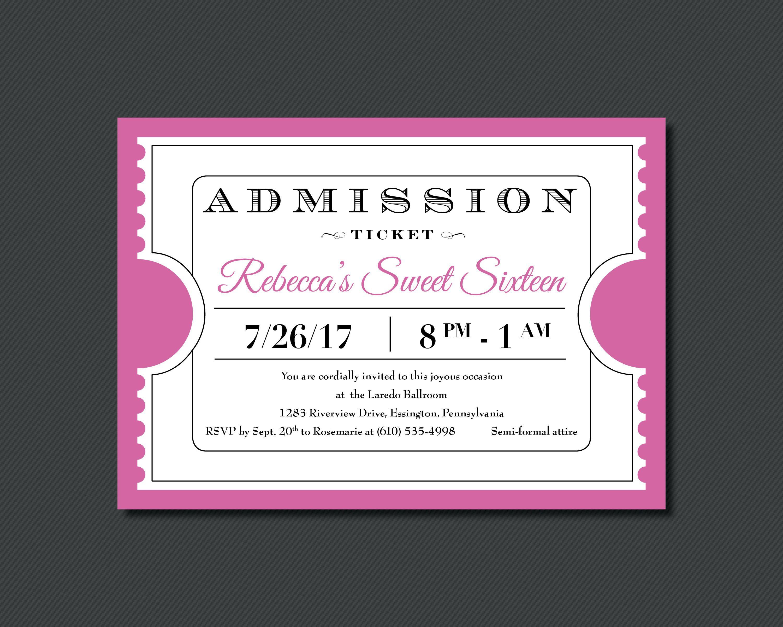 Printable - Admission Ticket - Party Invitation | invitaciones ...