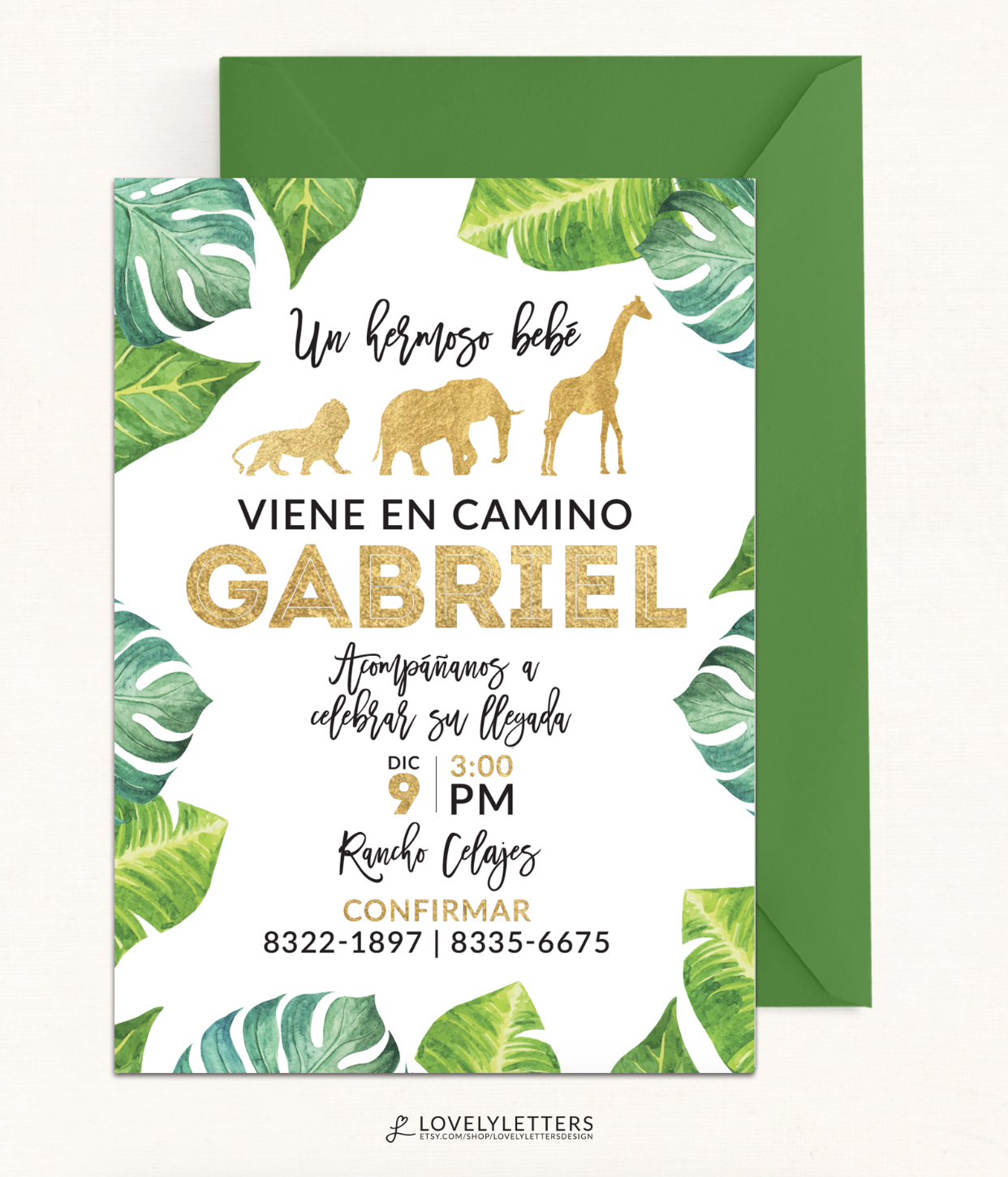 Safari Shower Invitation / Golden Baby Shower Invitation / DIGITAL ...