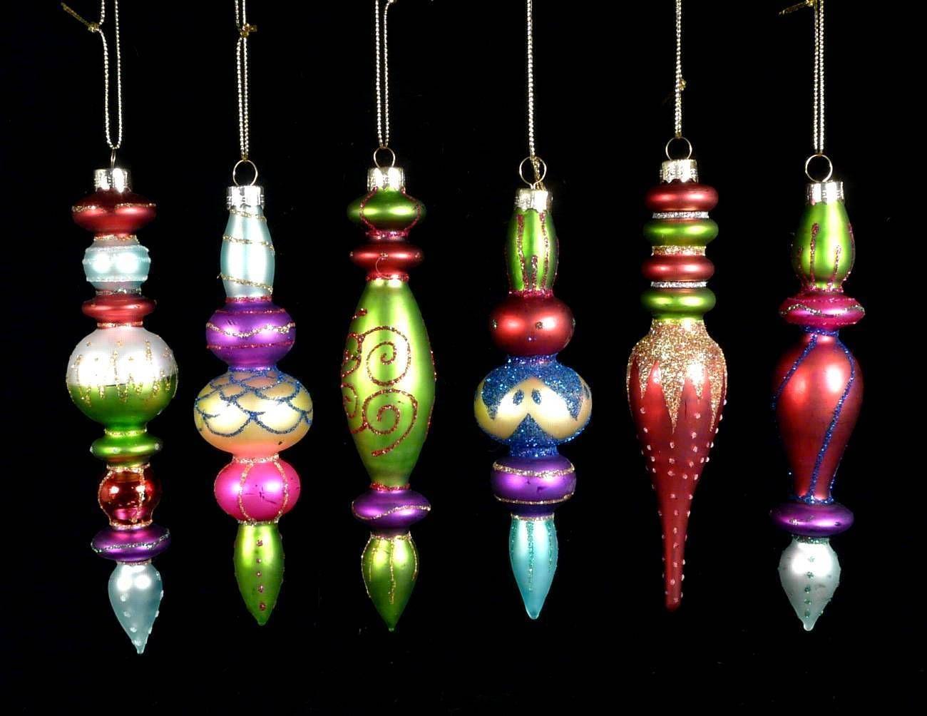 6 Christbaumschmuck Kugeln Zapfen Ornament Baumschmuck Glas Bunt