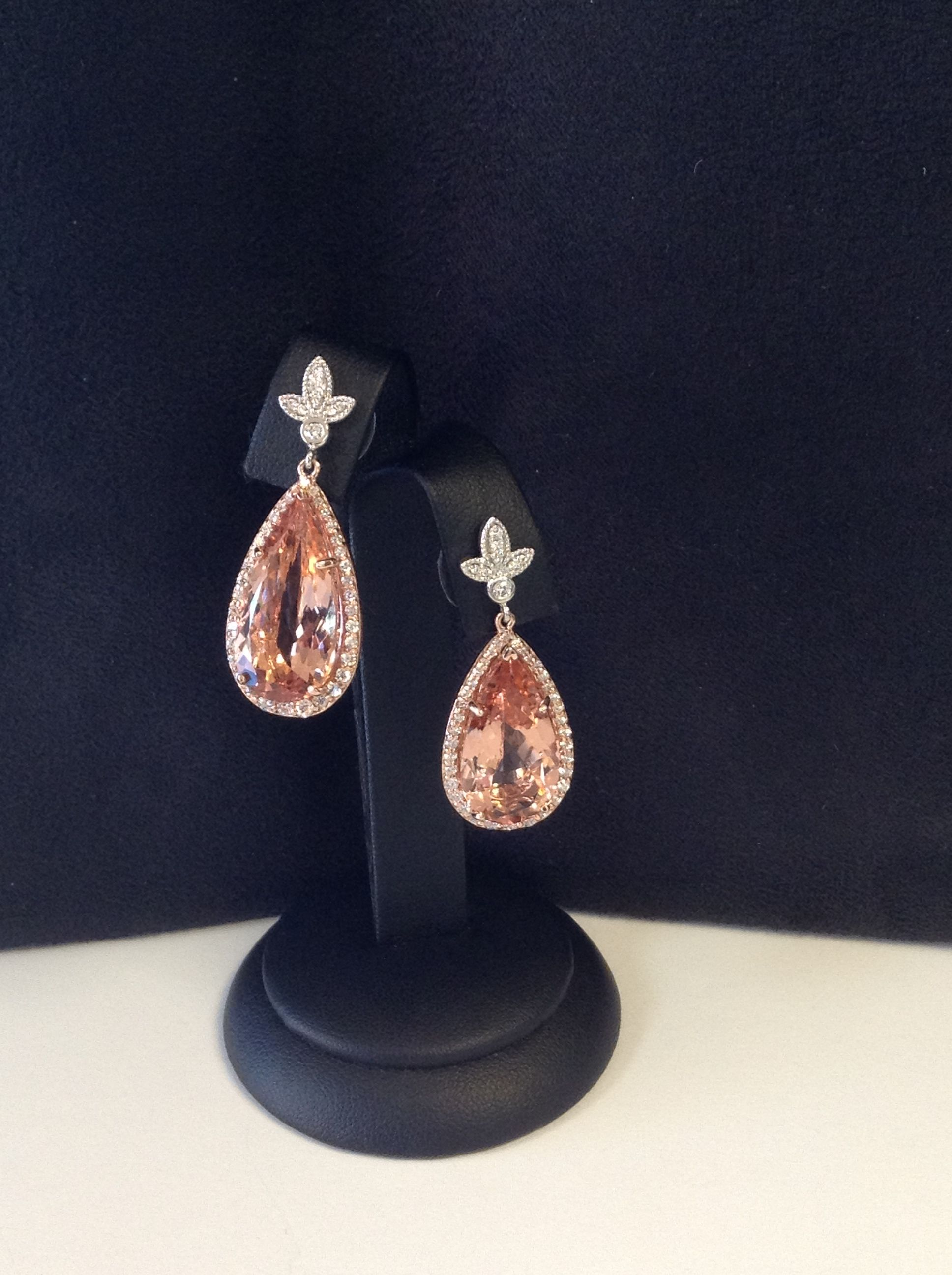 2138ct pear shaped morganite and diamond earrings Set in rose and