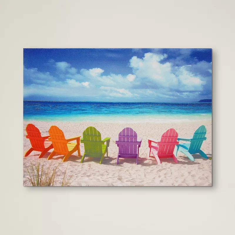 Beachcrest Home Peekskill Beach Chairs Wrapped Canvas Photograph Print Wayfair In 2020 Ocean Wall Art Beach Chairs Art