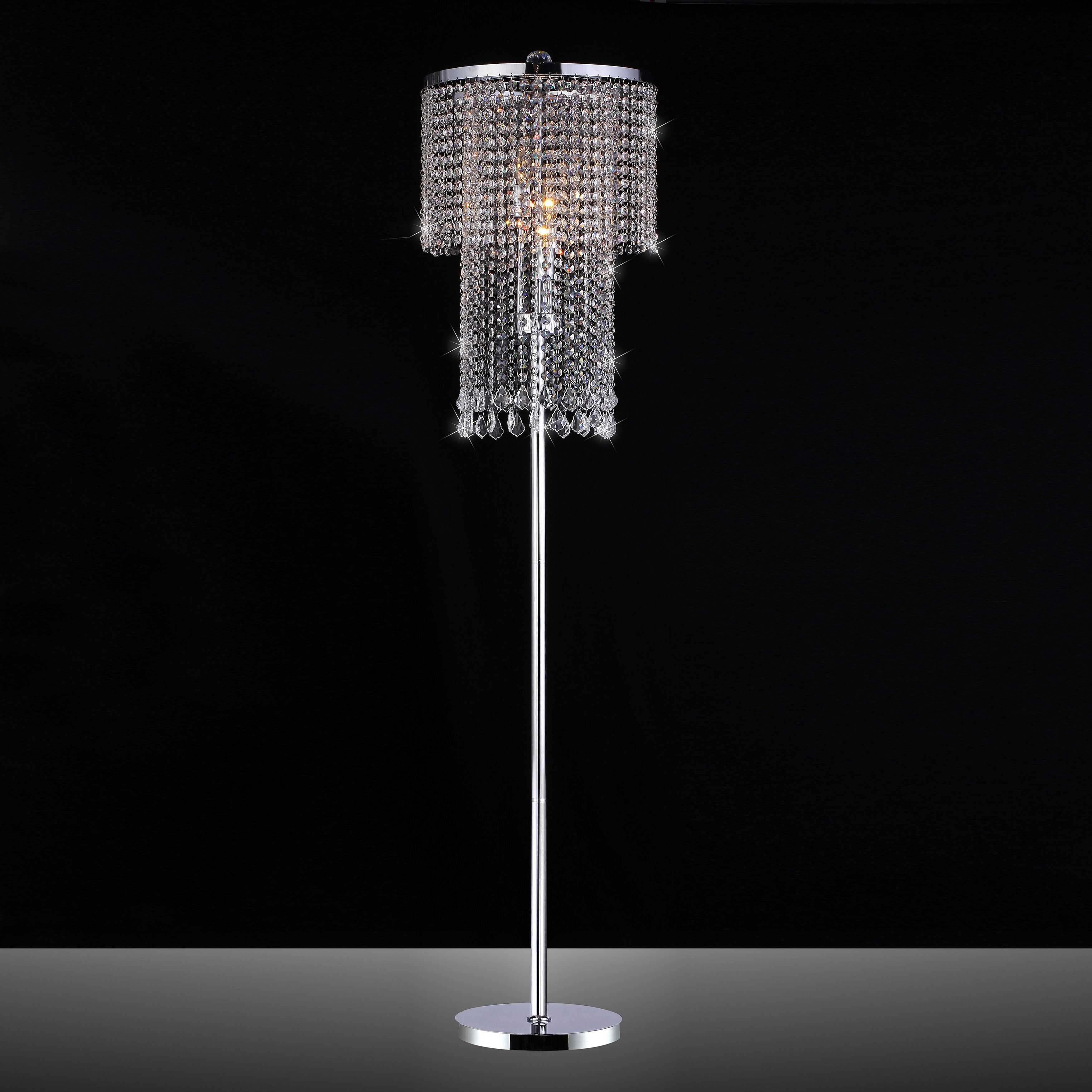 Modern crystal floor lamp - Chrome And Crystal Floor Lamp By Warehouse Of Tiffany