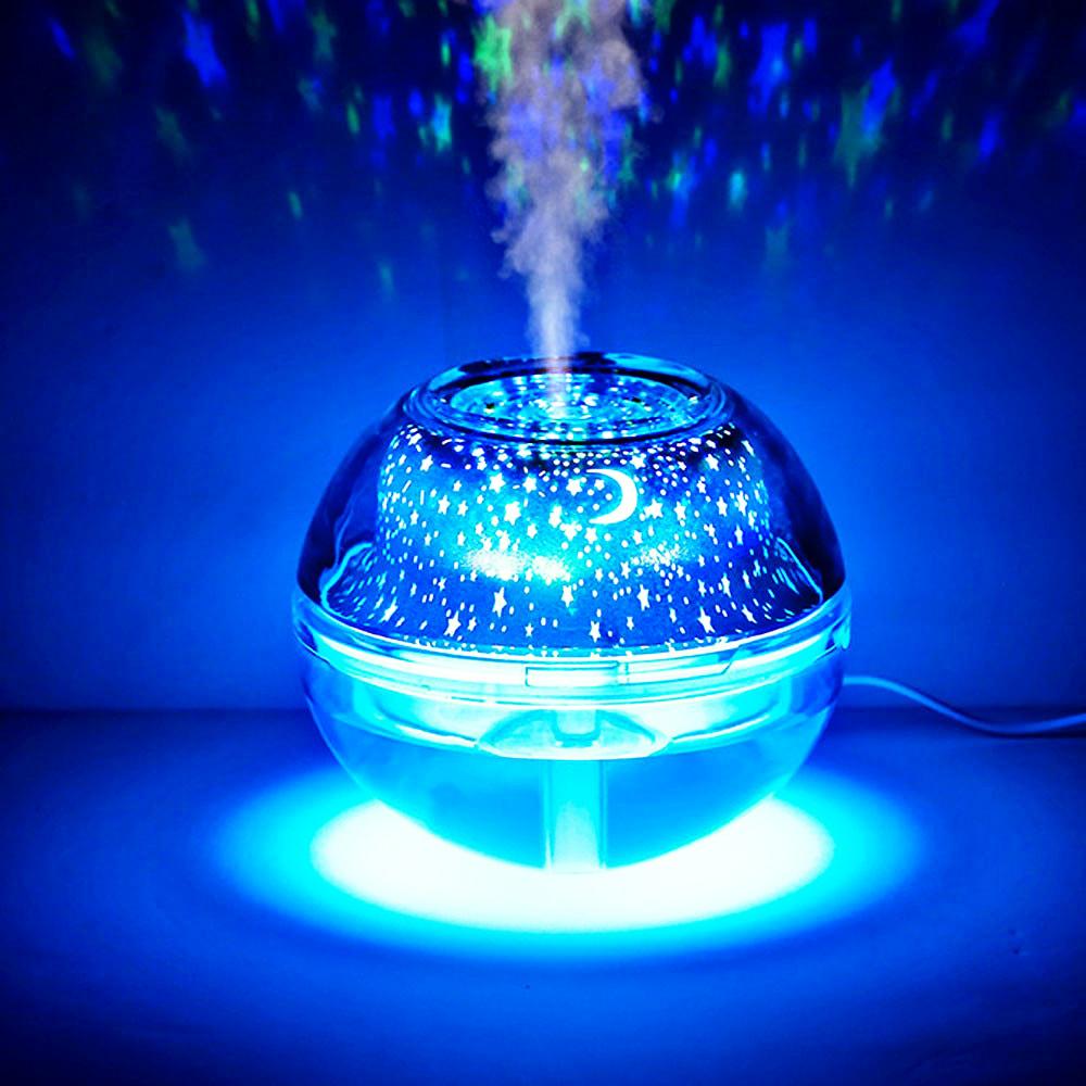 LED Crystal Night Lamp Air Humidifier Blue Light