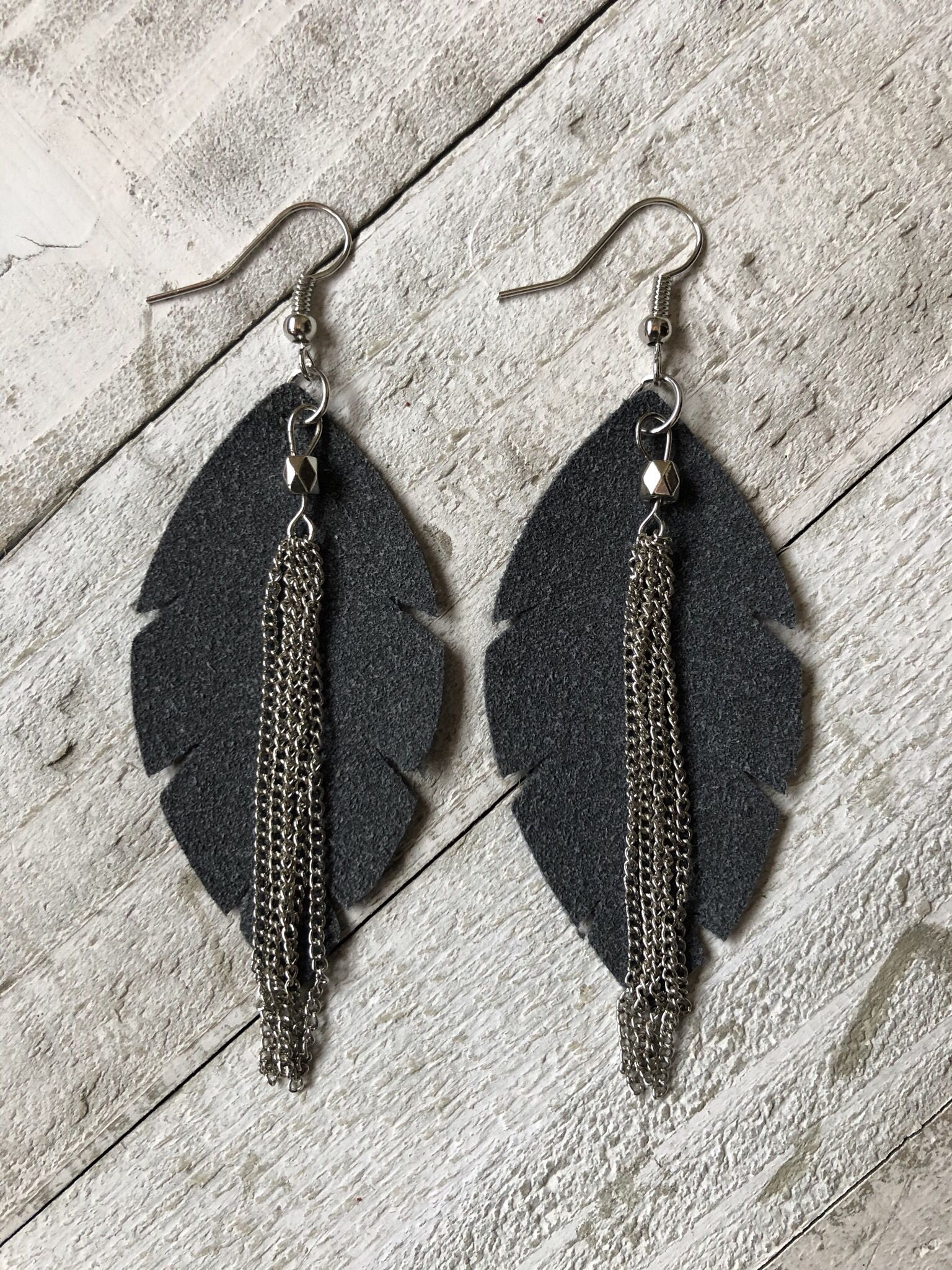 Photo of Charcoal Suede Faux Leather Feather Earrings