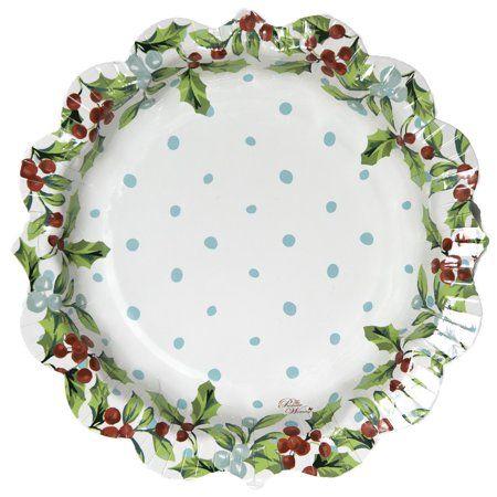 Pioneer Woman Mistletoe Christmas Paper Plates, 8 in, 12ct