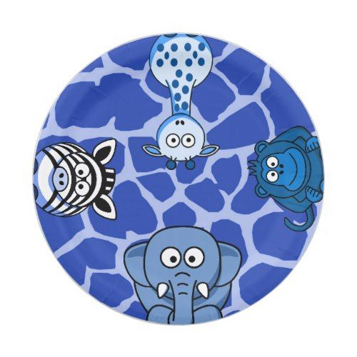 Blue jungle safari animal boy baby shower birthday paper plate  sc 1 st  Pinterest & Blue jungle safari animal boy baby shower birthday paper plate ...
