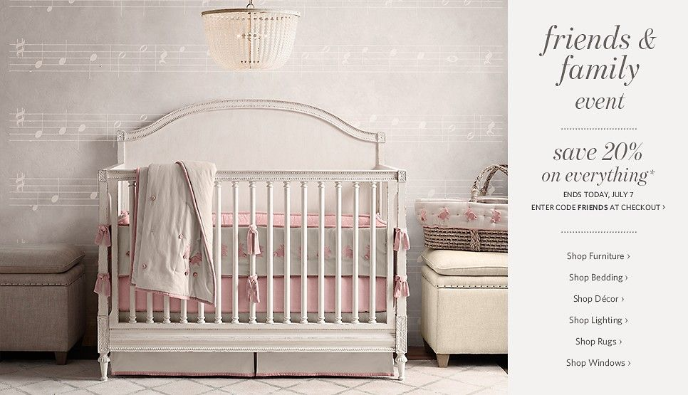 Restoration Hardware Baby Child Girl Nursery Decor Cribs