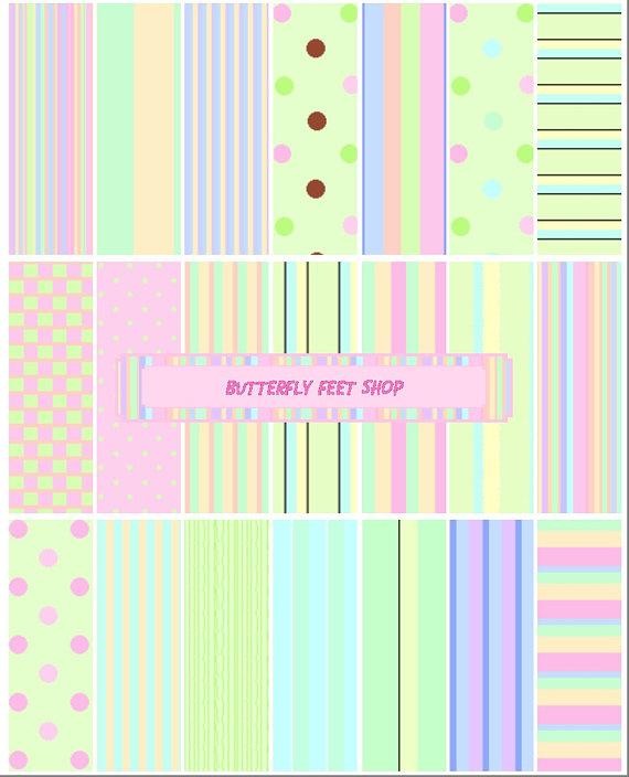 Pastel Digital Paper, Pink and Green, Polka Dots, Stripes, Letter