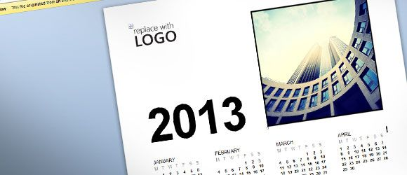 Free Customizable Business Calendar 2013 Template by MS Word 2013