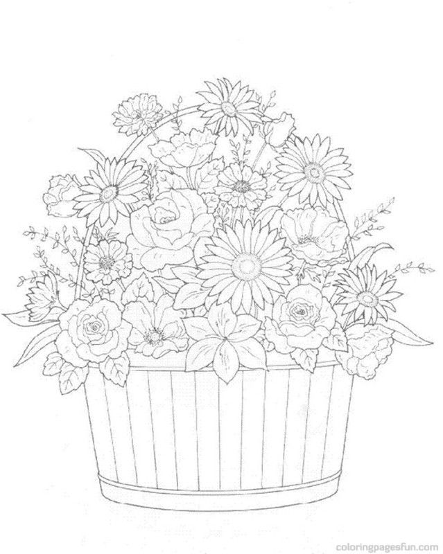 Flower Bouquets Coloring Pages 8 | coloring pages | Pinterest ...