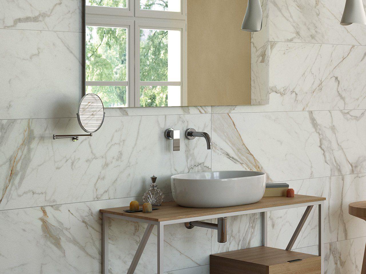 Rivestimento Bagno Con Maioliche piastrella vendome calacatta 40x120 effetto marmo (con