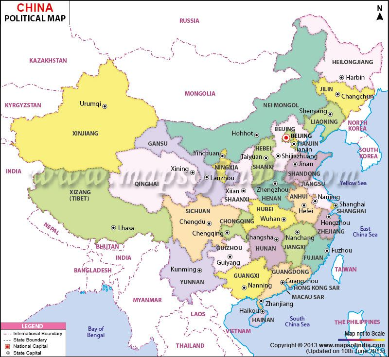 Political Map of China Indias Neighboring Countries Pinterest