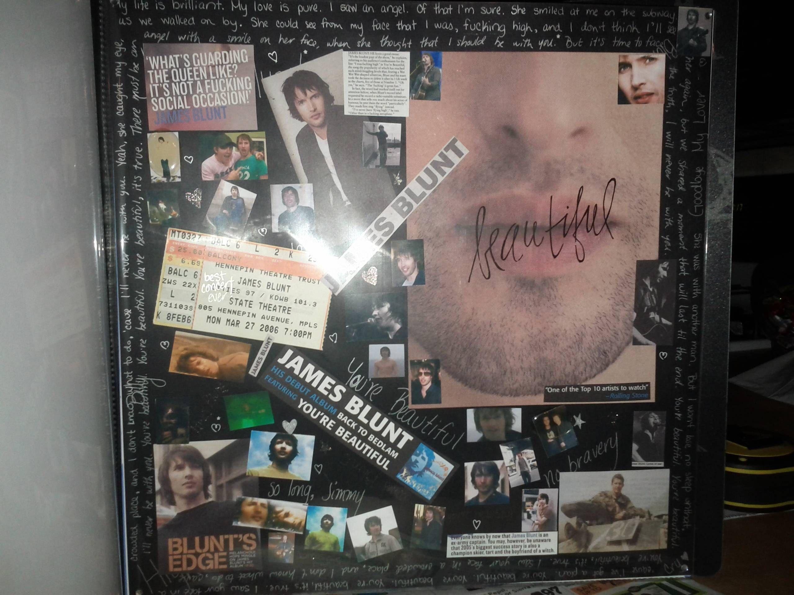 My James Blunt concert page I scrapbooked a long time ago | scrap