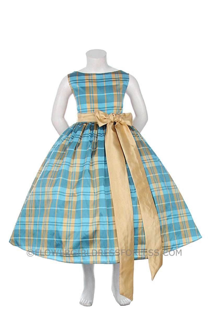 b934d453254 KK 5712TUR - Flower Girl Dress Style KK 5712- Sleeveless Plaid Dress with  Sash and Front Bow - Turquoise - Flower Girl Dress For Less