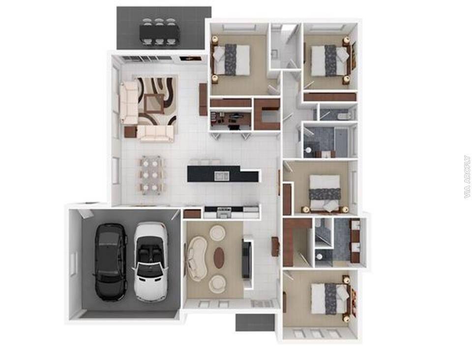 Dekorasi Rumah Minimalist 50 Denah Rumah Minimalis 3d 3 Kamar Tidur 2 Lantai Dan 2 Kamar Tidur Denah Rumah Rumah Minimalis Desain Rumah Modern