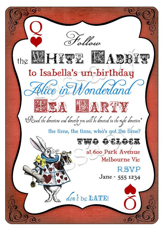 alice in wonderland themed invitations kathy chan chan ritter hanks