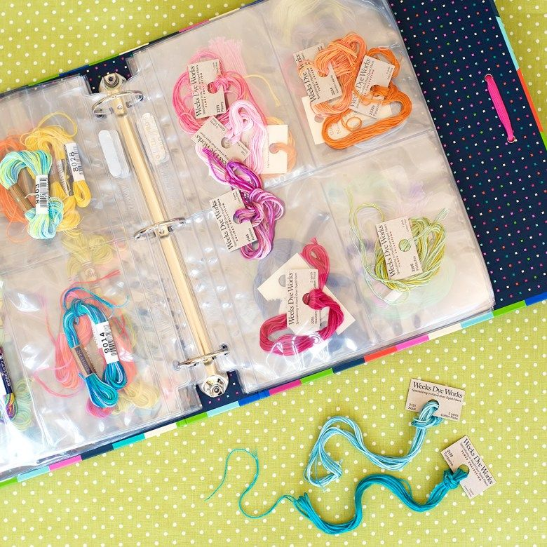 Embroidery Thread Storage In Binder With Trading Card