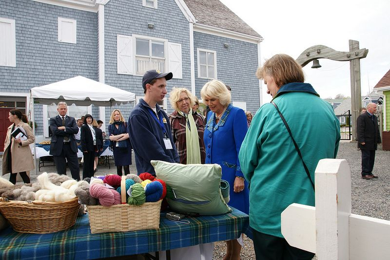 Royal Visit Canada: Day Two  ~~The Duchess of Cornwall looks at wool produce supported by the Campaign for Wool, launched by The Prince to support the wool industry.