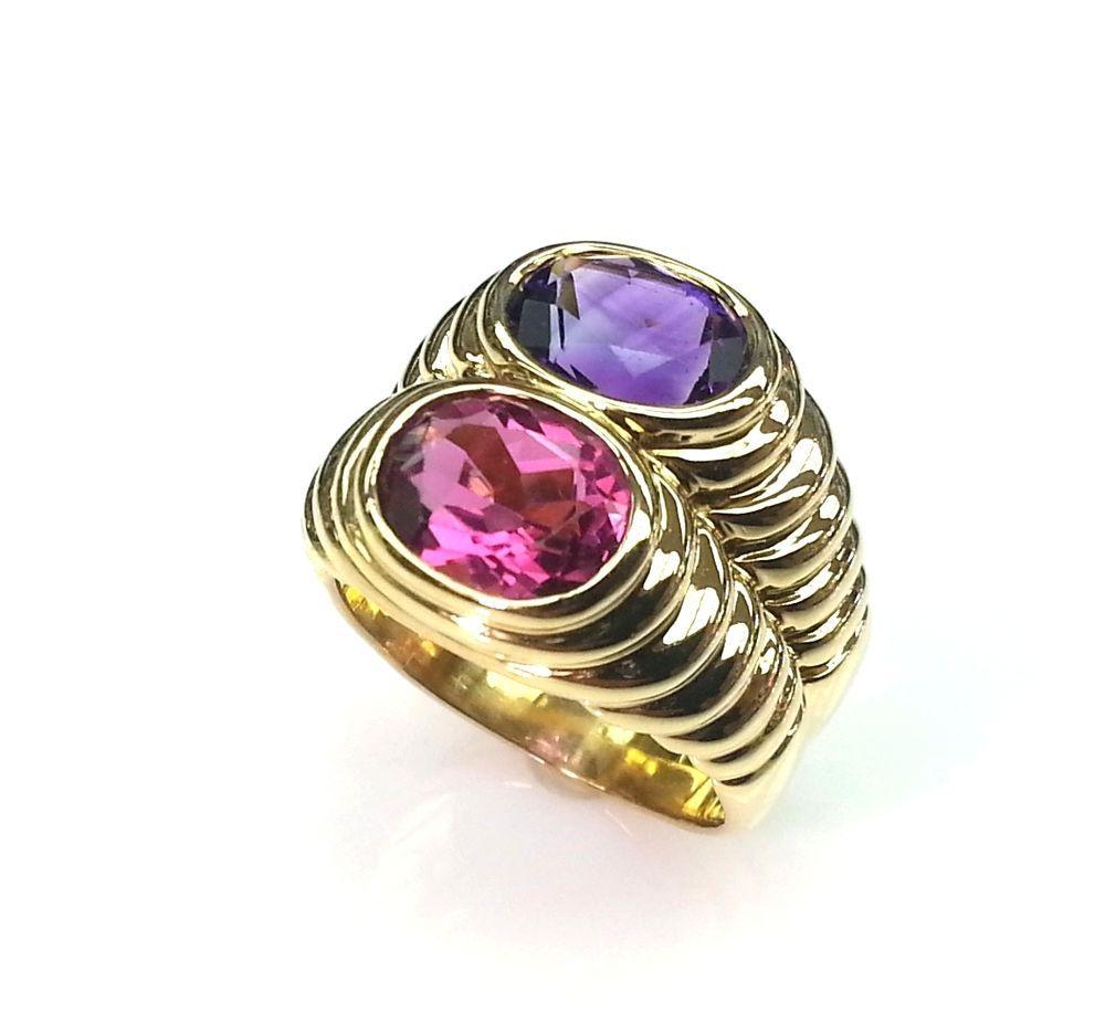 bvlgari 18k yellow gold amethyst u0026 pink tourmaline ring vintage bulgari ring bulgari