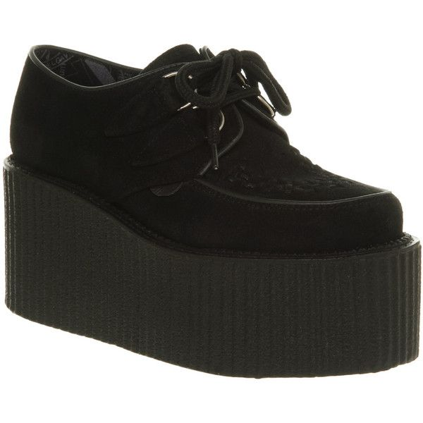 f4021302ae8 Underground Triple sole creeper black suede ( 145) ❤ liked on Polyvore  featuring shoes