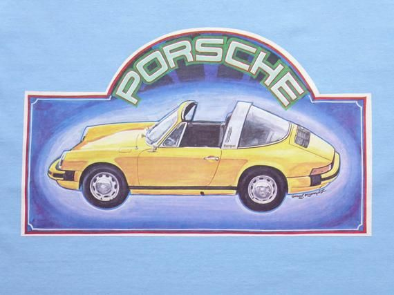 Vintage 70's Iron On T-shirt German Classic Car Porsche 911 Targa