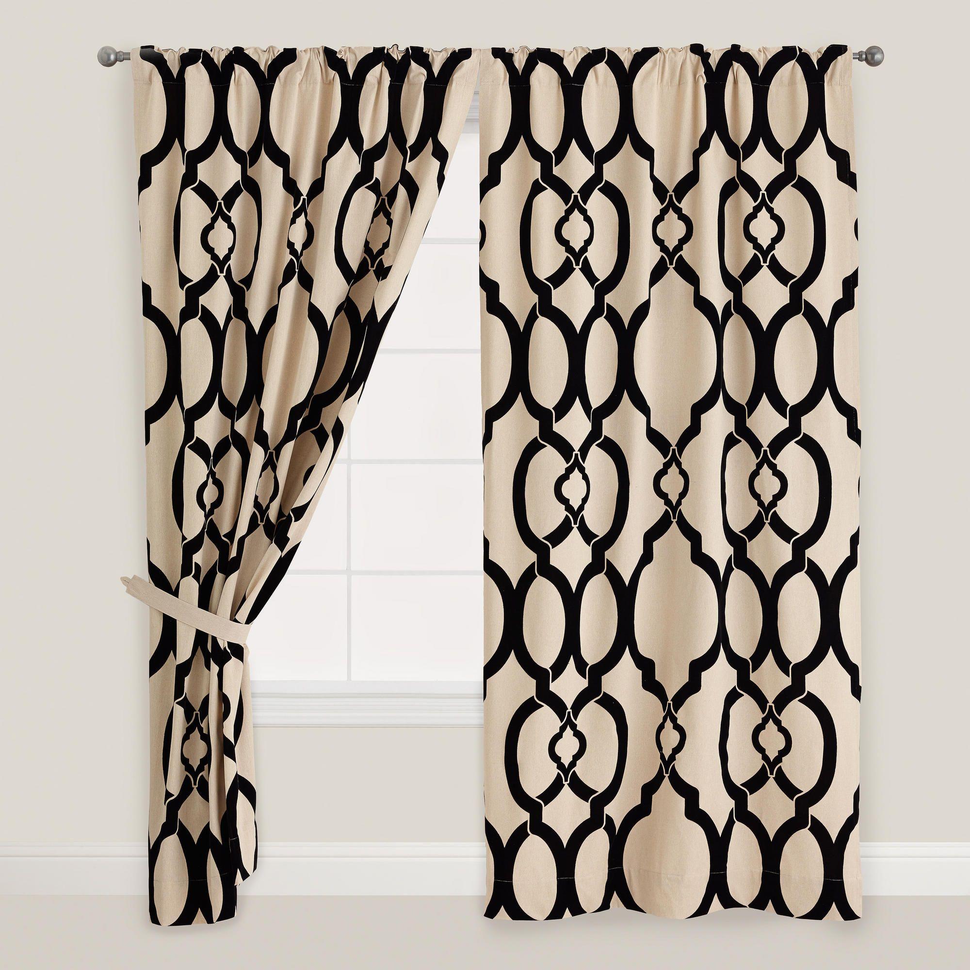 Black Trellis Ethel Flocked Chambray Curtain World Market Amy S