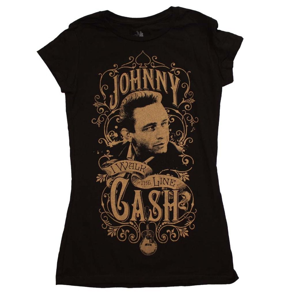 Inked Boutique - Johnny Cash Walk The Line Women's T-Shirt Black Rockabilly Music Man In Black http://www.inkedboutique.com/