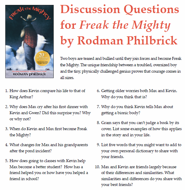 Discussion Questions For Freak The Mighty By Rodman Philbrick Freak The Mighty Book Tasting Homeschool Language Arts