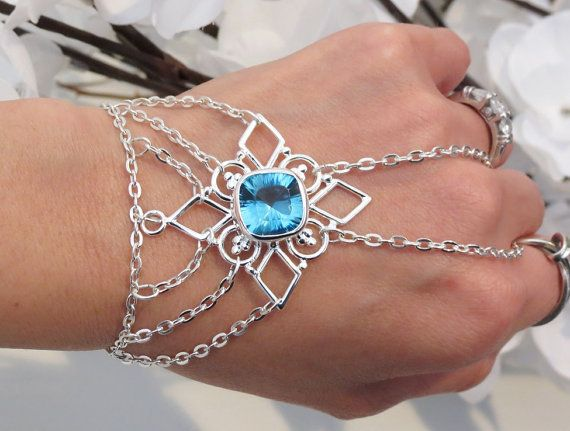 Blue Topaz Slave Bracelet Ring Sterling Silver Hand Chain Jewelry Beach Body S