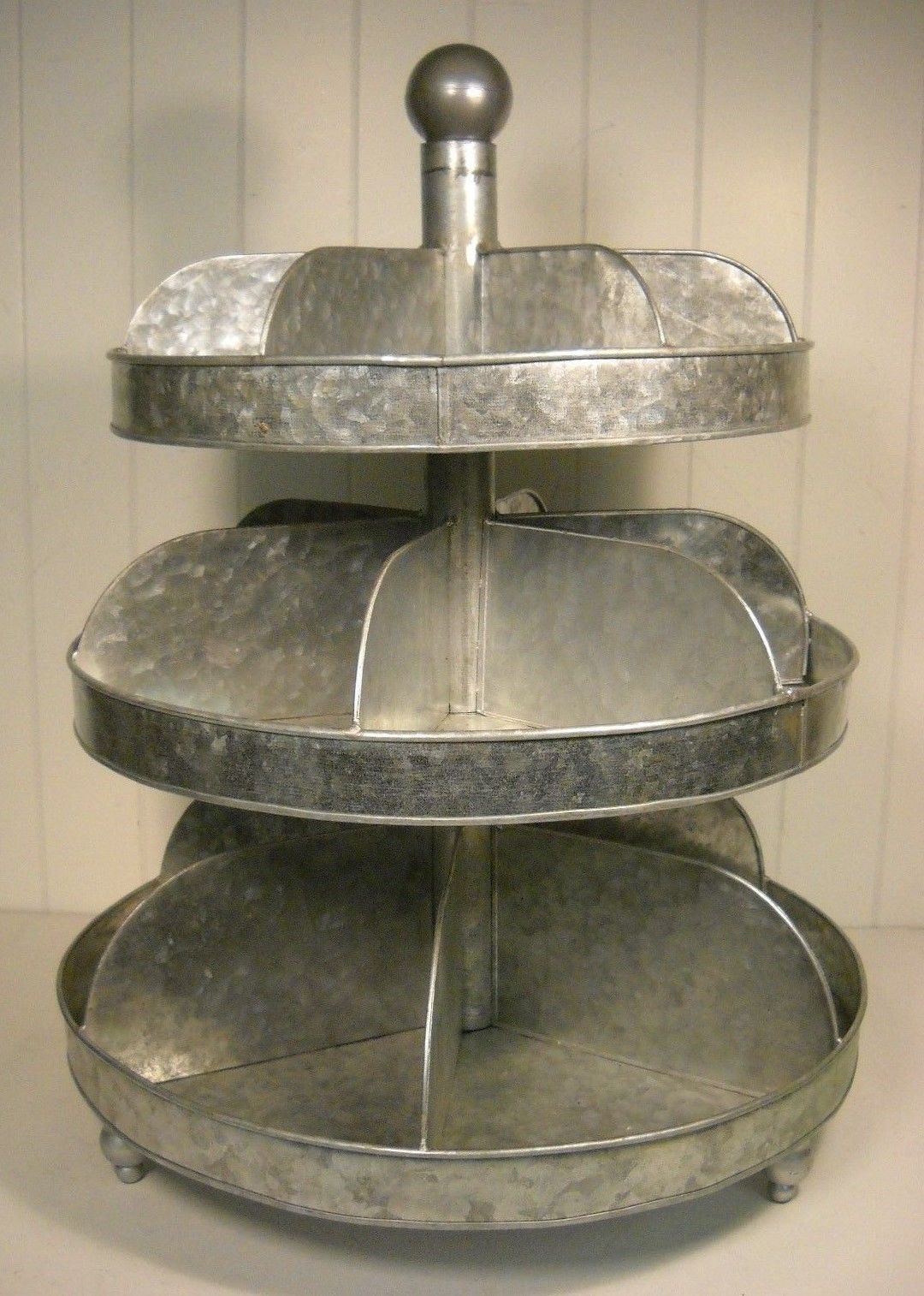 Rustic Industrial 3 Tier Galvanized Tin Divided Spinner