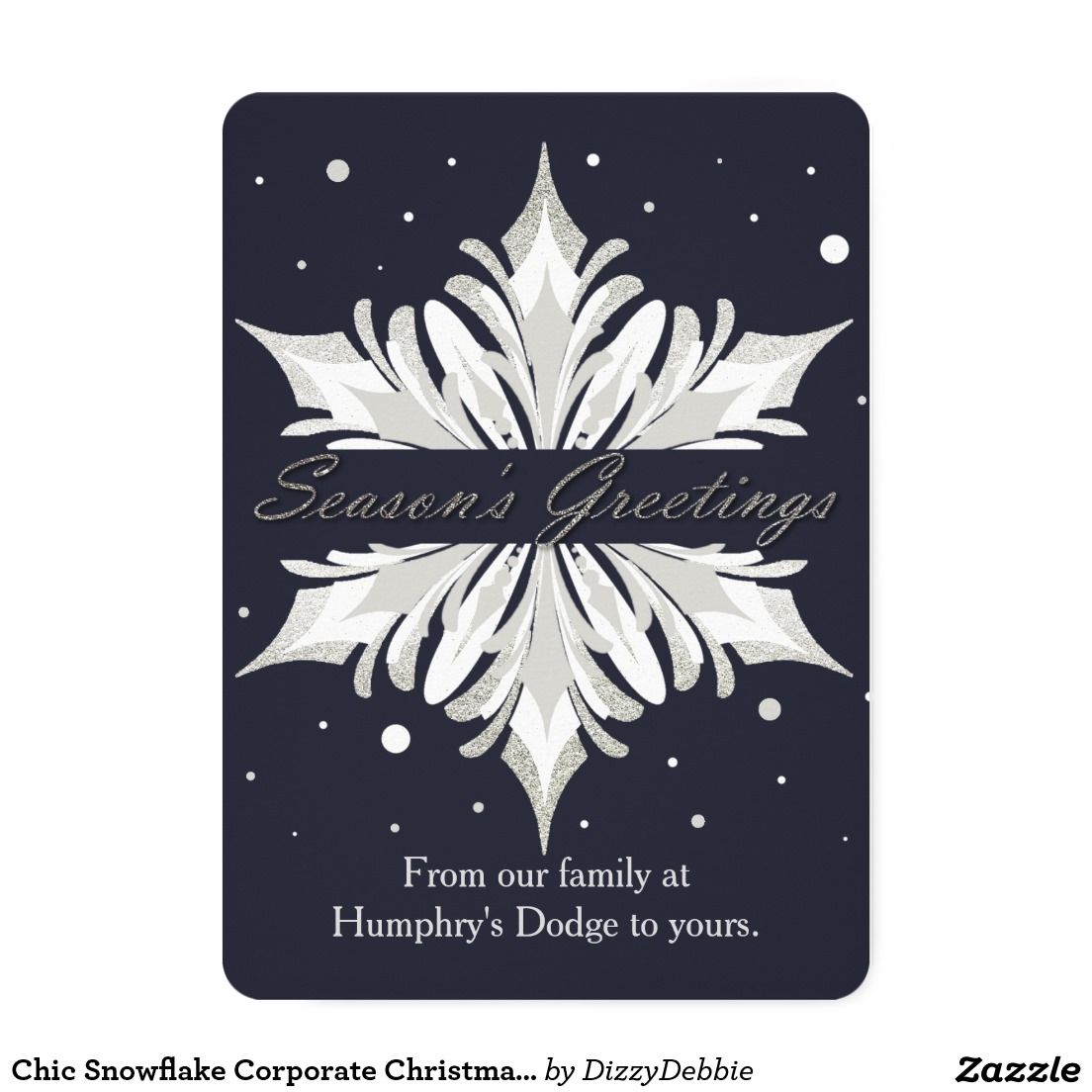 Chic Snowflake Corporate Christmas Card | Corporate Greeting Cards ...